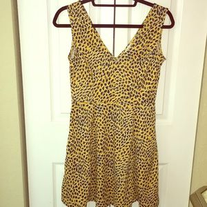 Mustard Cheetah print fit & flare dress